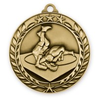 1 3/4'' Wreath Wrestling Medallion Gold