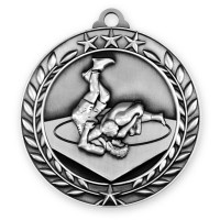 1 3/4'' Wreath Wrestling Medallion Silver