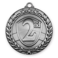 1 3/4'' Wreath 2nd Place Medallion Silver