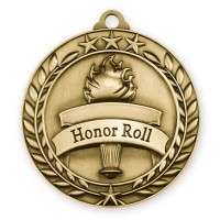 1 3/4'' Wreath Honor Roll Medallion Gold