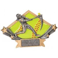 5 3/4 x 8 1/2 Female Softball Diamond Star Resin