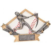 4 1/4 x 6 1/4 Male Baseball Diamond Star Resin
