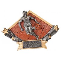 4 1/4 x 6 1/4 Male Basketball Diamond Star Resin