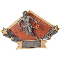 5 3/4 x 8 1/2 Female Basketball Diamond Star Resin