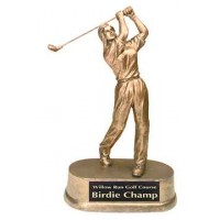 9 inch Antique Gold Female Golf Resin