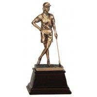 9 inch Bronze Female Golf Resin Award